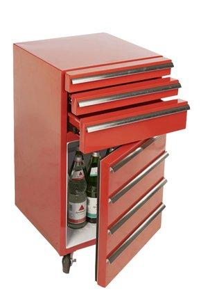 Mini-Kühlschrank für Getränke im retro Werkstattwagen-Look   rot, fahrbar, innovativ, stromsparend   exklusiver Bierkühlschrank auf Rollen ohne Gefrierfach   Gastro Cool   3-Schubladen - 2