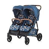 Chipolino Geschwisterkinderwagen Passo Doble klappbar, 73 cm breit, Fußsack blau