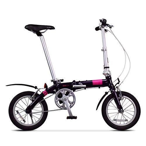 Klappräder Fahrrad Jungen Und Mädchen Radfahren Faltrad Sitz Verstellbar (Color : Black-B, Size : 14inch) (Faltrad 14inch)