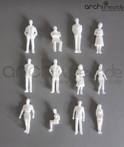 25 x Modell Figuren, weiß unbemalt, für Modellbau 1:50, Modelleisenbahn Spur 0 -