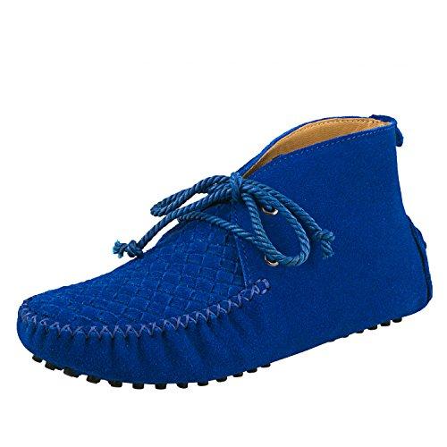 Shenduo - Mocassins & Boots Cheville femme nubuck, Loafers multicolore D7258 Bleu