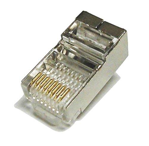 Tupavco TP806 Shielded RJ45 CAT5 CAT5E Crimp Connector (100 Pack Bag) 8P8C STP Ethernet Network Cable Plug Crimp Jack.