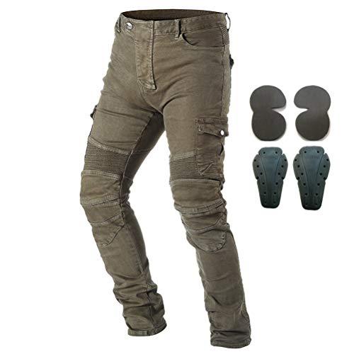 Pantaloni da moto, per uomo, Jeans in denim per motociclismo con armatura e 4 ginocchiere, Uomo, Army Green, 37W/32L