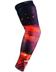 COOLOMG manga del brazo del refrigerador de Deportes Hombres Mujeres Anti Slip Protección UV Campo de Baloncesto Red Nebula 1 pieza grande