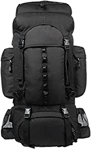 AmazonBasics Internal Frame (Hardback) Hiking Backpack with Raincover, 55Liters (Black)