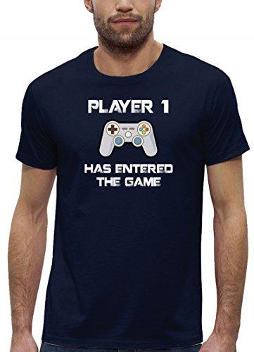 Geek Nerd Gamer Premium Bio Baumwoll Herren Männer T-Shirt Stanley Stella Player 1 Has Entered The Game, Größe: L,Navy (T-shirts Baby Stella)