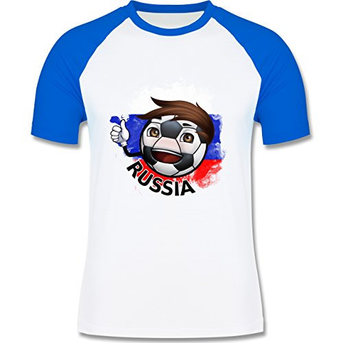 EM 2016 - Frankreich - Fußballjunge Russland - zweifarbiges Baseballshirt für Männer Weiß/Royalblau