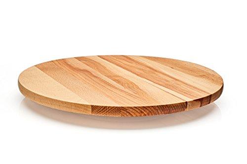Drehplatte Durchmesser 35 cm. Drehbare Servierplatte aus massivem Eichenholz. Käseplatte Schneidebrett rutschfest. Eiche massiv Holz. Servierplatte für Servieren Käse, Aperitif, Antipasti.