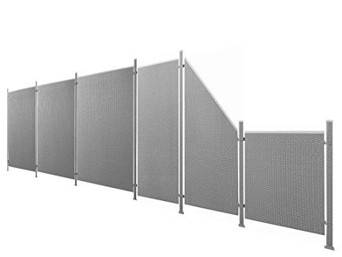 Poly-Rattan Sichtschutz / Zaun-Set 13-teilig anthrazit ca. 687cm Prime Tech
