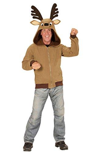 2 Kostüm Mann Rentier - Karneval-Klamotten Rentier Kostüm Herren-Kostüm Männer Jacke mit Kapuze Weihnachten Fasching Karneval Einheitsgröße