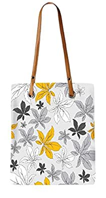 Snoogg Yellow Flower Grey Womens Digitally Printed Utility Tote Bag Handbag Made Of Poly Canvas With Leather Handle