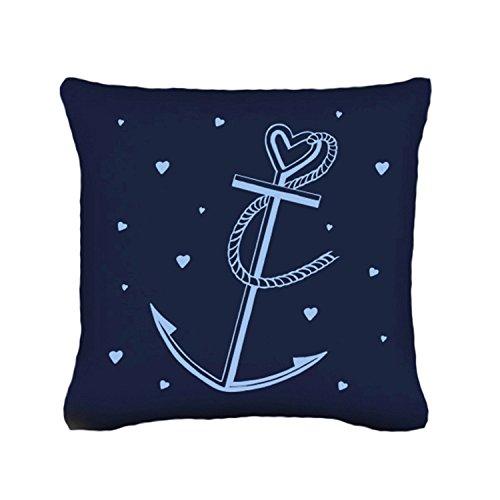 Ilka parey wandtattoo-welt k48 cuscino decorativo con ancore e cuoricini blu scuro medium