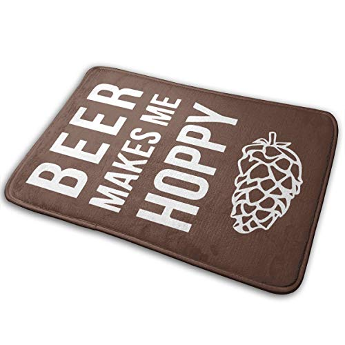Dimension Art Beer Makes Me Hoppy Memory Foam Bath Mat Non Slip Absorbent Super Cozy Soft Velvet Bathroom Rug Carpet, 15.7