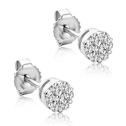 Orovi Orecchini Donna Piccoli a Lobo in Oro Bianco con Diamanti Taglio Brillante Ct 0.20 Oro 9 Kt / 375