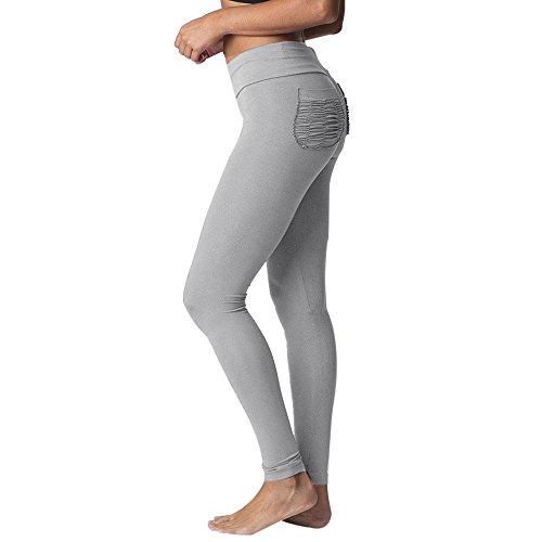 MOIKA Legging De Sport Jogging Femmes Taille Haute Fitness Course Pantalon Extensible Sportif à Pantalons(Gris,Large)