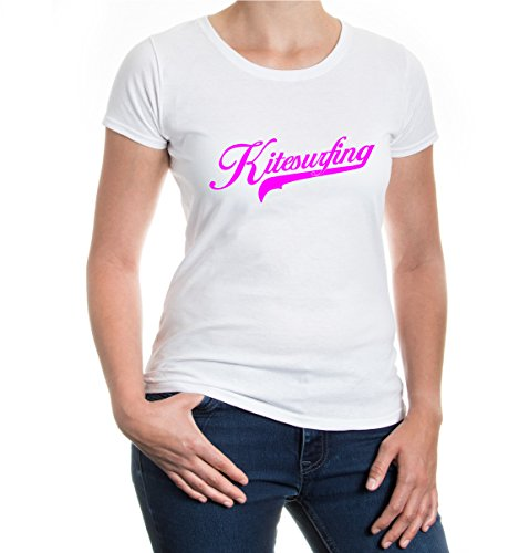buXsbaum® Girlie T-Shirt Kitesurfing Logo White-Neonpink