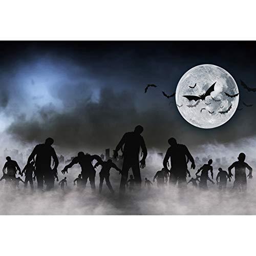 OERJU 1,5x1m Halloween Hintergrund Gehen Toter Zombie Nebel Vollmond Fledermäuse Hintergrund Halloween Party Fotografie Süßes oder Saures Kinder Party Banner Dekoration Porträt
