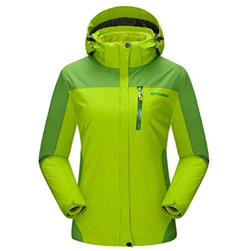 FLYGAGA Femme 3 en 1 Imperméable Respirant Outdoor Sport Camping Randonnée Escalade Ski Veste Coupe-Vent Capuche Manteau (XX-Large, Vert)