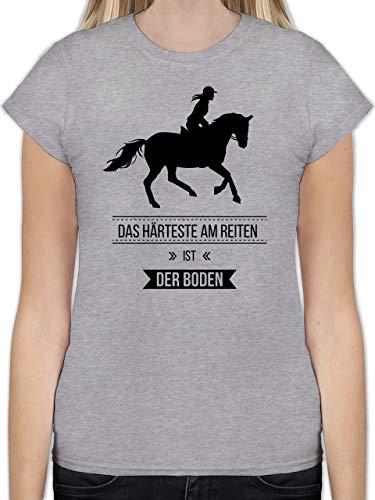 Pferde - Das Härteste am Reiten ist der Boden - S - Grau meliert - L191 - Tailliertes Tshirt für Damen und Frauen T-Shirt -