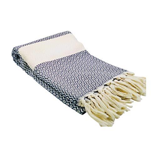 SCN Premium Hamamtuch, Saunatuch, Strandtuch, Badetuch 100x180cm (Diamant) 100% Reine türkische Baumwolle Oeko-TEX® 100 (Grau) - Grau Fischgrät Wolle