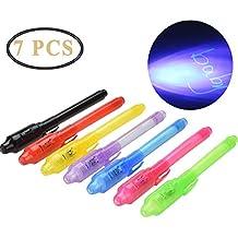 7 Unidades Bolígrafo de Tinta Invisible, ZEEREE Invisible Ink Pen con Rotulador Mágico de Luz
