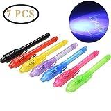 7 Pièces Secrect Stylos, ZEEREE Stylo à Encre Invisible UV Light Surligneur Creative Magic Pen pour Fêtes d'enfants Cadeaux