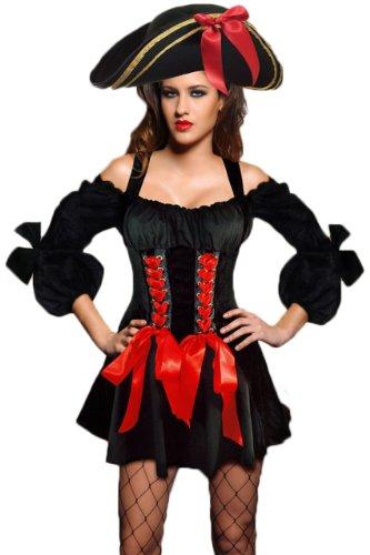 Kostüm Halloween Seemann Mann (r-dessous kurzes Seemann Kostüm oder Piratenkostüm & Hut für Mottoparty, Halloween Karneval und Fasching Groesse:)