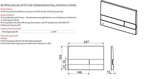 Drückerplatte für WC Vorwandelemente WC-Spüle Farbe Chrom Glänzend 3L/6L Betätigungsplatte Platte Betätigungstaste