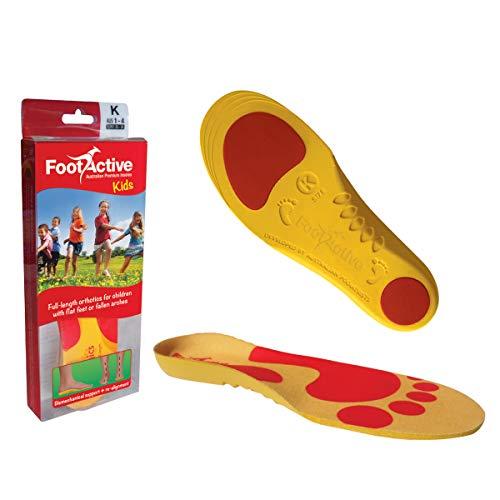 FOOTACTIVE Kids Full (32-34) - Plantilla Ortopédica de Soporte para Arco para Niños de Grado Médico para la Enfermedad de Sever, Fascitis Plantar y Restauración del Patrón Natural de Caminar