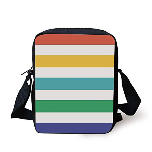 CBBBB Striped,Rainbow Colored and White Fun Horizontal Lines Kids Room Red Yellow Blue Green Art,Multicolor Print Kids Crossbody Messenger Bag Purse