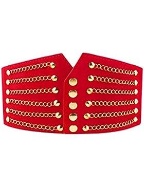 Sourcingmap CinturónSujetador Para Señoras Ancho Elástico De PU Decoración De Cadenas Botón - Rojo