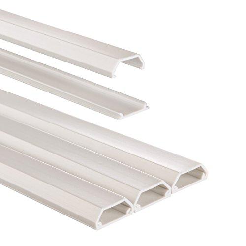 Hama Kabelkanal PVC (halbrund, 100 x 1,6 x 0,7 cm, bis zu 3 Kabel) 3 Stück, weiß
