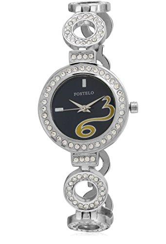 Fostelo-Womens-Black-Dial-Analog-Wrist-Watch-FST-152