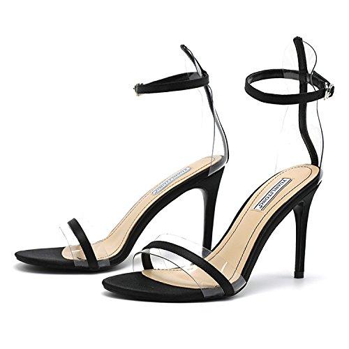 Xue Qiqi Bien con tacones altos señoras sandalias de rocío ranurado con sandalias de tacón alto y zapatos de tacón elegante y versátil,33