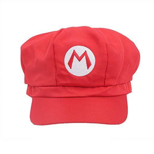Mario / Luigi Hüte Hut Rot / Grün Elastische Kappe Hat Cosplay Kostüm Fashion Design für Halloween Party (Rote) (Mario Kostüm Hut)