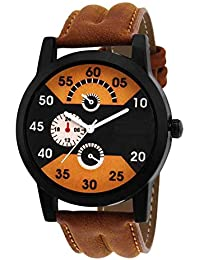 Raiyaraj Analog Black Dial Brown Leather Belt Watch For Men And Boys