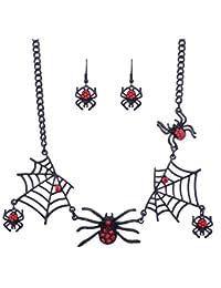 Fangcheng Halloween Spider Web Necklace Spider Pendant Earrings Girl Juego de rol de Personalidad Creativa Conjunto