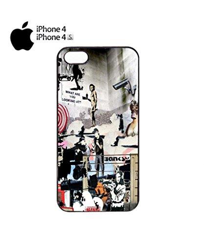 Banksy Street Art Graffiti Mobile Cell Phone Case Cover iPhone 5c Black Schwarz
