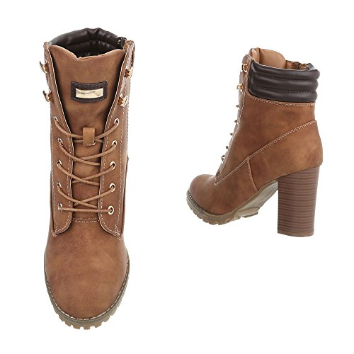 Ital-Design Chaussures Femme Bottes et Bottines Kitten-Heel Bottines a Lacet Braun S89