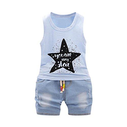 AmazingDays 2Pcs Infant Baby Boys Girls Star Letter Tops Vest+Shorts Outfits Clothes Set Baby Newborn Boys Unisex Outfits Bodysuit Rompers Jumpsuit Hooded Spring Summer Short Vest Clothes