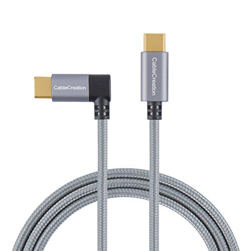 Typ C Kabel, cablecreation 4ft rechten Winkel usb-c auf usb-c geflochten für neue MacBook (Pro), Pixel C, Nexus 5x/6P, Moto Z Force Droid, Galaxy S8S8+ und mehr, 1,2m/schwarz & weiß mit Aluminium Fall