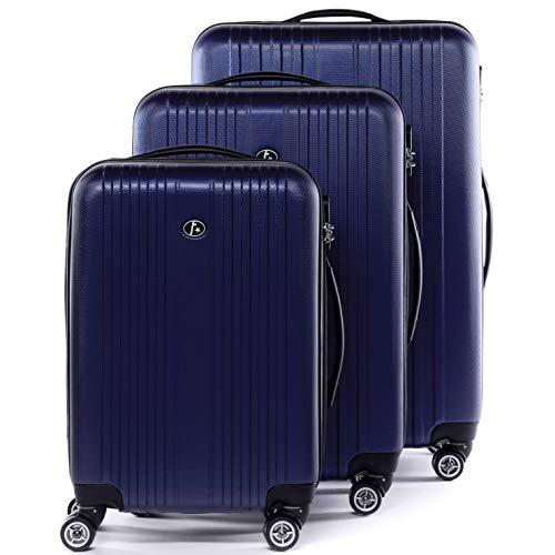 FERGÉ Kofferset Hartschale 3-teilig Toulouse Trolley-Set - Handgepäck 55 cm L XL - 3er Hartschalenkoffer Roll-Koffer 4 Rollen 100% ABS blau