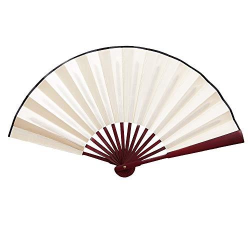 XIAOHAIZI Handfächer,Hand Chinesische Seide Faltfächer Creme Farbe Unisex Hochzeit Tanzparty Fan Chinesische Faltfächer Handgemachte Solide Hand Fan Für Zu Hause (Creme Tanz Kostüm)