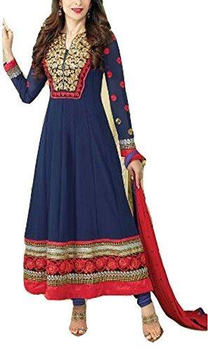 Mrig Women Faux Georgette Dress Material (El30009 _Blue _Free Size)