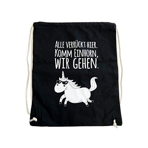 1 frecher Einhorn Turnbeutel I dv_329 I ca. 37 x 46 cm I waschbar Sportbeutel Umhänge-Tasche in schwarz Baumwolle Spruch: ALLE VERRÜCKT HIER.