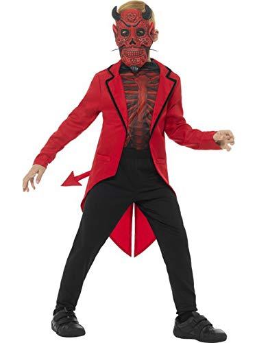 Halloweenia - Jungen Kinder Kostüm Hochwertiges Tag der Toten Teufel Diavolo Frack Shirt und Maske, Deluxe Day of The Dead Devil, perfekt für Halloween Karneval und Fasching, 122-134, Rot