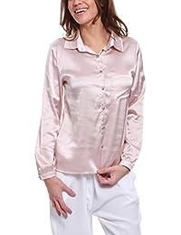 Isabella Roma Camicia Manica Lunga, Chiusura con Bottoncini E Taschino, Blusa para Mujer