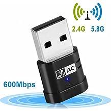 USB WiFi Adaptador Receptor WiFi 600Mbps Banda dual (5G/433Mbps + 2.4G/150Mbps) - dongle USB de alta velocidad con soporte para WPS,Soporte de Windows XP / 7/ 8 /8.1/10/ Vista (32/64bits) / Mac OS
