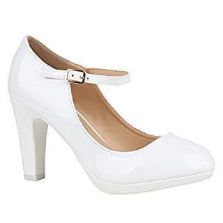 Stiefelparadies Damen Pumps T-Strap High Heels Riemchenpumps Stilettos 155230 Weiss Lack 38 Flandell