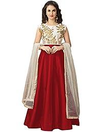 Lilots Tafeta Silk Red Heavy Embroidery Zari Work Semi Stitch Salwar Kameez